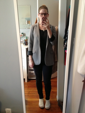 Cotton boyfriend blazer in charcoal gray with a black tank, black jeans and white Converse high-top shoes.